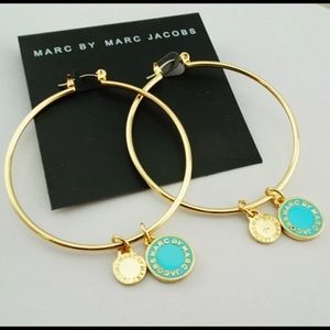 """New on Card Marc Jacobs 2"""" Gold-tone Hoop"""